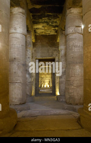 Egypt. Abydos. Temple of Seti I. New Kingdom. 19th Dynasty. The Second Hypostyle Hall. Columns. 1292-1189 BC. - Stock Photo