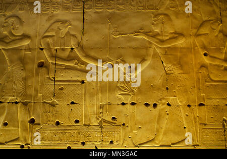 Egypt. Abydos. Temple of Seti I. New Kingdom. 19th Dynasty. The Pharaoh Seti I making offerings of incense to the god Horus. 1292-1189 BC. - Stock Photo