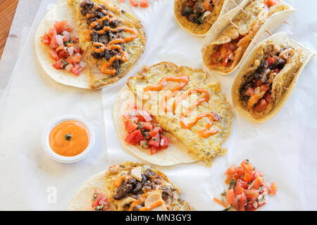 Tortilla breakfast wraps and tacos - Stock Photo