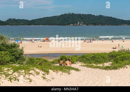 Beach 'Praia do Campeche' on the Atlantic island of 'Ilha de Santa Catarina', Florianópolis, Santa Catarina, Brazil, Latin America - Stock Photo