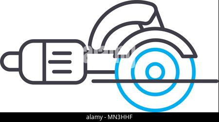 Angle grinder vector thin line stroke icon. Angle grinder outline illustration, linear sign, symbol concept. - Stock Photo