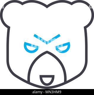Bear market vector thin line stroke icon. Bear market outline illustration, linear sign, symbol concept. - Stock Photo