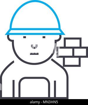 Brick mason vector thin line stroke icon. Brick mason outline illustration, linear sign, symbol concept. - Stock Photo