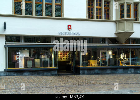 Lucerne, Switzerland - October 19, 2017: Shop of the famous Swiss brand of souvenirs and knives Victorinox - Stock Photo