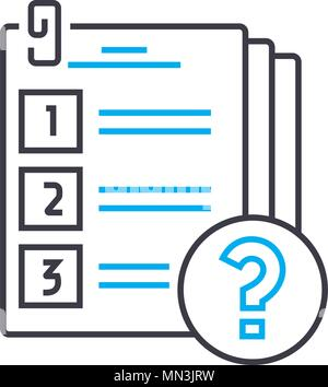 Conducting a survey vector thin line stroke icon. Conducting a survey outline illustration, linear sign, symbol concept. - Stock Photo