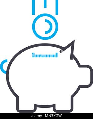Replenishment of fund vector thin line stroke icon. Replenishment of fund outline illustration, linear sign, symbol concept. - Stock Photo