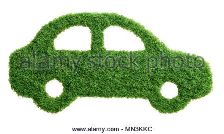 Grass growing in the shape of a car, symbolising the need to invest in alternative fuel solutions for transportation. - Stock Photo