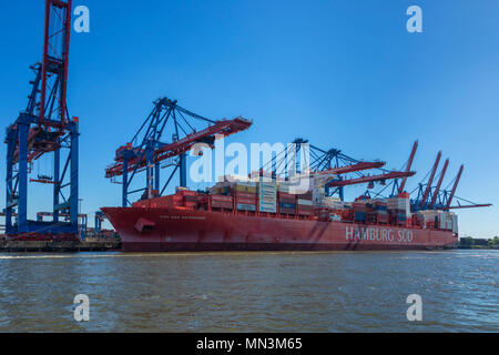 Container ship CAP SAN ARTEMISSIO, owned by shipping company HAMBURG SÜD, at the port of Hamburg - Stock Photo
