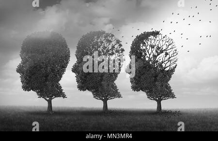 Concept of memory loss and brain aging due to dementia and alzheimer's disease as a medical icon with fall trees shaped as a human head. - Stock Photo