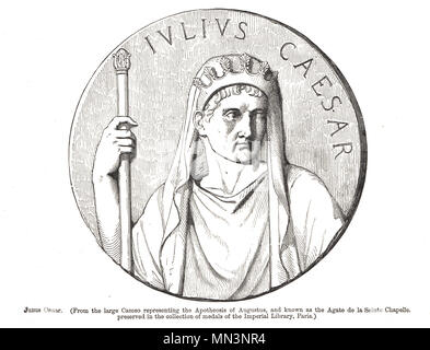 Julius Caesar, from the cameo representing the Apotheosis of Augustus, known as the Agate de la Sainte Chapelle - Stock Photo