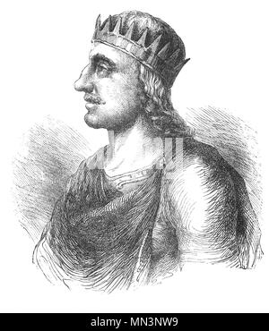 Ecgberht (77–839), also spelled Egbert, Ecgbert, or Ecgbriht, was King of Wessex from 802 until his death in 839. Little is known of the first 20 years of Ecgberht's reign, but it is thought that he was able to maintain the independence of Wessex against the kingdom of Mercia, which at that time dominated the other southern English kingdoms. In 825 Ecgberht defeated Beornwulf of Mercia, temporarily ruling Mercia directly.  He was however, unable to maintain this dominant position, and within a year he lost the throne of Mercia, but retained control of Kent, Sussex, and Surrey. - Stock Photo