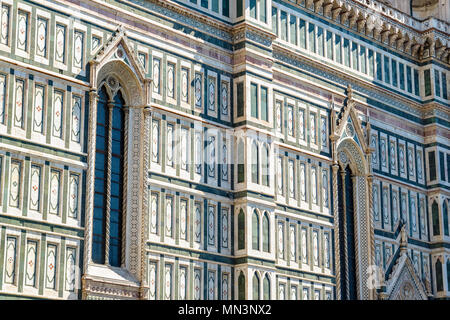 Exterior of the Cattedrale di Santa Maria del Fiore (Cathedral of Saint Mary of the Flower) in Florence, Italy - Stock Photo