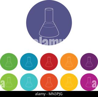 Laboratory flask icon, outline style - Stock Photo