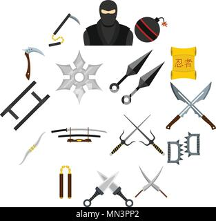Ninja tools icons set in flat style - Stock Photo