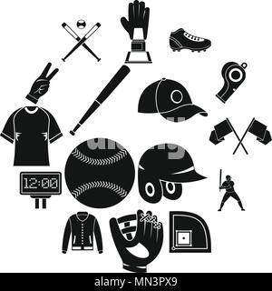 Baseball icons set, simple style - Stock Photo