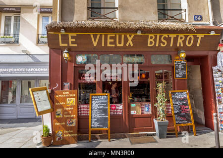 Menu blackboards outside Le Vieux Bistrot ,Rue Mouffetard, Paris, France - Stock Photo