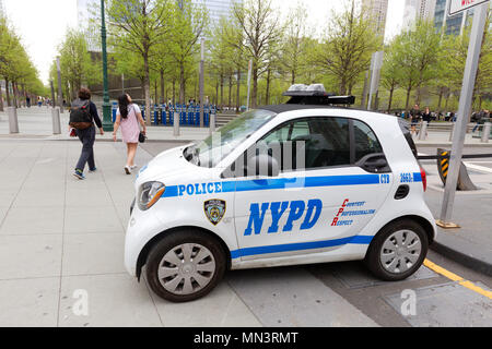 NYPD Smart car  police car, New York City, USA - Stock Photo