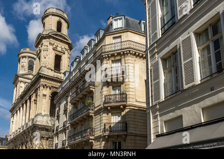 Church of Saint-Sulpice, eglise Saint-Sulpice , a Roman Catholic church located at Place Saint-Sulpice , the second largest church in in Paris - Stock Photo