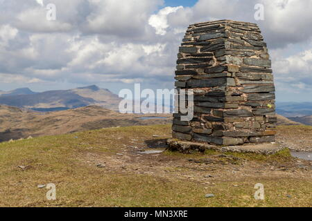 The summit of Moel Siabod can be seen from the Trig Point that stands on the summit of Moelwyn Mawr - Stock Photo