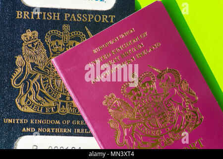 Old and new British passport - Stock Photo