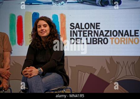 Turin, Italy. 13 May, 2018. Turin Book Fair: Chiara Foglietta at the presentation of the LGBT book series LiberaMente. MLBARIONA/Alamy Live News. - Stock Photo