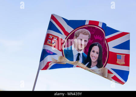 London, UK. 14th May 2018. Union jack flag celebrating the Royal wedding of Prince Harry and Meghan markle. Credit: Ink Drop/Alamy Live News - Stock Photo