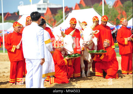 Bangkok, Thailand. 14th May, 2018. People in traditional costumes attend the royal ploughing ceremony in Bangkok, Thailand, May 14, 2018. The annual event marks the beginning of the rice growing season in Thailand. Credit: Rachen Sageamsak/Xinhua/Alamy Live News - Stock Photo