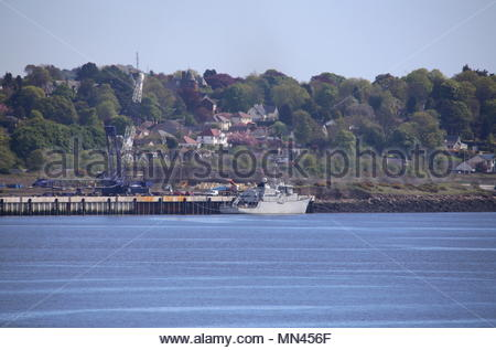 Dundee, UK. 14th May 2018. Dutch navy HNLMS SCHIEDAM at Port of Dundee.  © Stephen Finn/Alamy Live News - Stock Photo