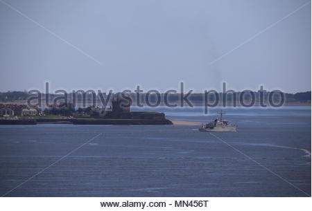 Dundee, UK. 14th May 2018. Dutch navy HNLMS SCHIEDAM departing Port of Dundee and passing Broughty Castle.  © Stephen Finn/Alamy Live News - Stock Photo