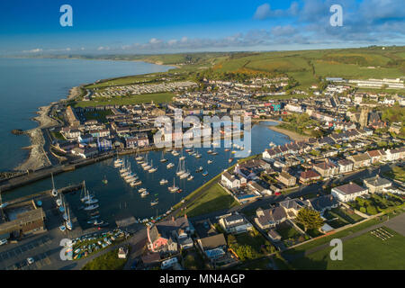 Aberaeron, Ceredigion Wales UK,  Monday May 14 2018  UK weather: a gloriously sunny evening in Aberaeron, a small town on the west Wales coast, with its houses huddled around its picturesque harbour  Arial photo by CAA licenced drone pilot  photo © Keith Morris / Alamy Live News - Stock Photo