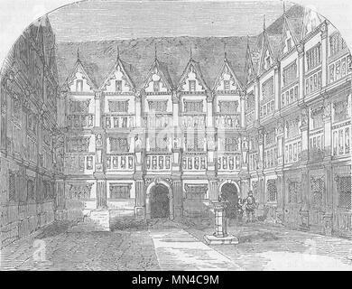 BISHOPSGATE. Sir Thomas Gresham's House in Bishopsgate Street. London c1880 - Stock Photo
