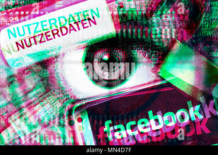 Eye in the crosshairs, facebook logo and memory stick with the inscription user data, Facebook Data Scandal Photo icon, Auge im Fadenkreuz, Facebook-S - Stock Photo