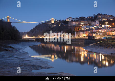 The Avon River, Hotwells and Clifton Suspension Bridge over the Avon Gorge at dusk, Bristol, England - Stock Photo
