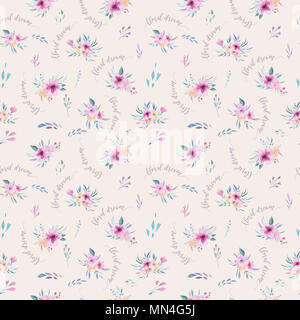 Watercolor floral pattern. Seamless pattern with purple, gold and pink bouquet on white background. Flowers, roses, peonies and leaves - Stock Photo