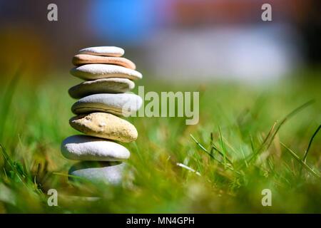 Stacked stones, tranquility, serenity, balance, Gestapelte Steine, Ruhe, Gelassenheit, Ausgeglichenheit - Stock Photo