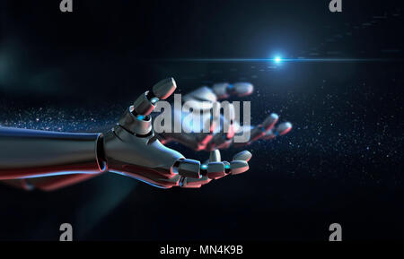 Computer generated image robot arms outstretched - Stock Photo