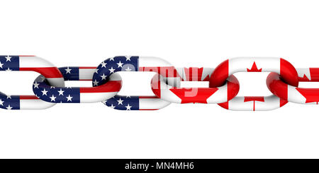 USA and Canada relationship concept. National flags on linked chain. 3D Rendering - Stock Photo
