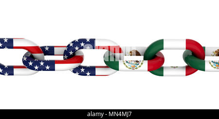USA and Mexico relationship concept. National flags on linked chain. 3D Rendering - Stock Photo
