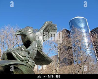 Bronze eagle memorial monument at Battery Park, Manhatten, New York City, USA - Stock Photo