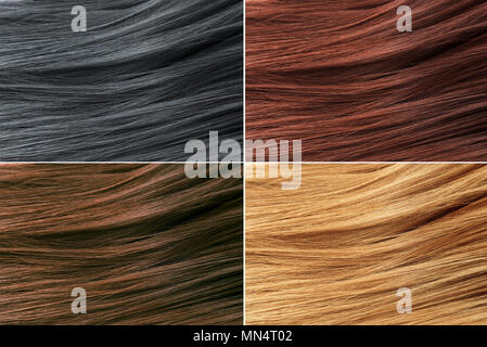 Hair Colors Palette. Hair Texture background, Hair colours set. Tints. Dyed Hair Color Samples. - Stock Photo