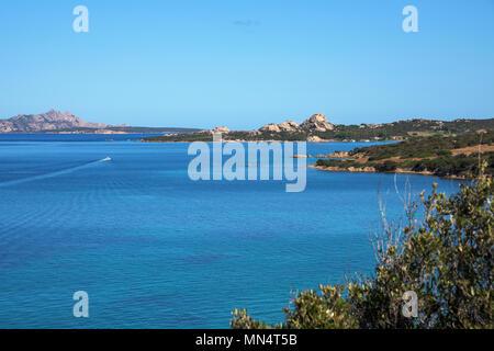 a panoramic view of La Maddalena, Santo Stefano and Caprera islands, in the Strait of Bonifacio, from Palau, in Sardinia, Italy - Stock Photo
