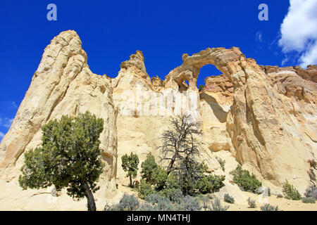 Grosvenor Arch double arch, Cottonwood Canyon Road in Grand Staircase Escalante National Monument, Utah, United States - Stock Photo