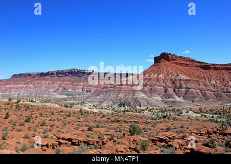 Colorful Badland Hills in Old Paria, Grand Staircase Escalante National Monument, Utah - Stock Photo