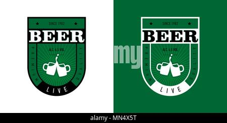 Beer label for live beer in green. Vector set on different backgrounds - Stock Photo