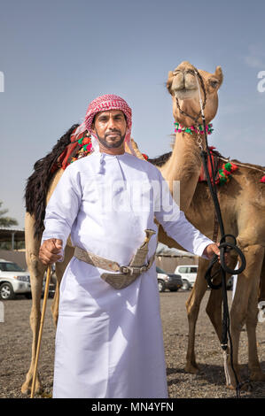 Ibri, Oman, 28th April 2018: man with his camels on a countryside of Oman - Stock Photo