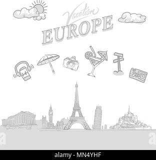 Europe travel marketing cover, set of hand drawn a vector sketches - Stock Photo