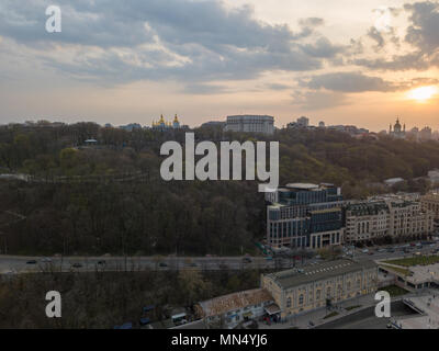 Bird's view of St. Andrew's Church on the Andreev Mountain and the St. Michael's Monastery of the Golden Domes, Volodymyr's hill in Kiev - Stock Photo