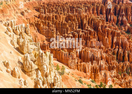 Scenic view of beautiful red rock hoodoos and the Amphitheater from Sunset Point, Bryce Canyon National Park, Utah, United States - Stock Photo