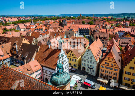 Scenic summer aerial panorama of the Old Town town in Rothenburg ob der Tauber, Bavaria, Germany - Stock Photo