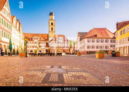 Beautiful scenic view of the old town in Bad Mergentheim - part of the Romantic Road, Bavaria, Germany - Stock Photo